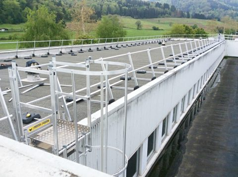 Guardrail and safety cage ladder for access and circulate on roof